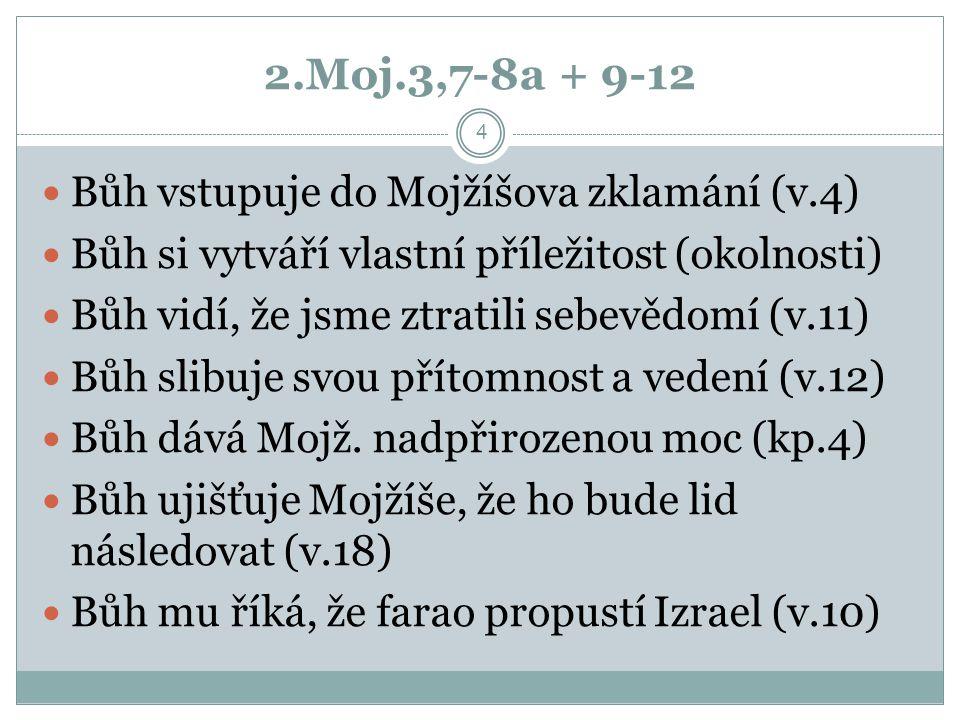 2.Moj.3,7-8a + 9-12 Bůh vstupuje do Mojžíšova zklamání (v.4)