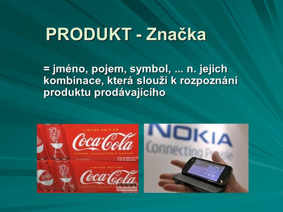 PRODUKT - Značka = jméno, pojem, symbol, ... n.