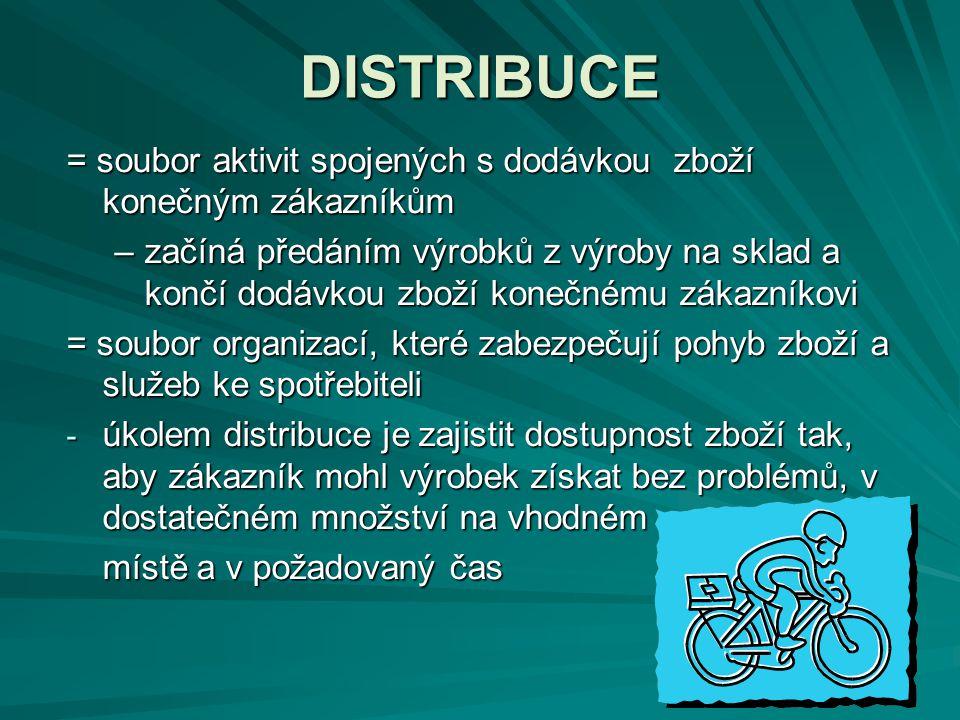DISTRIBUCE = soubor aktivit spojených s dodávkou zboží konečným zákazníkům.