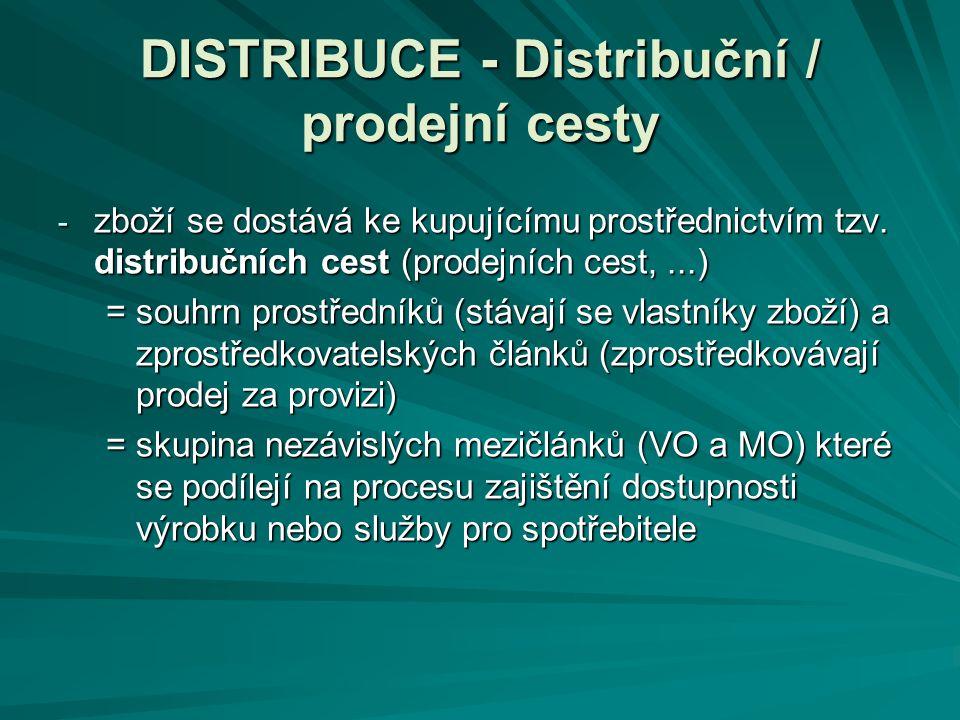 DISTRIBUCE - Distribuční / prodejní cesty