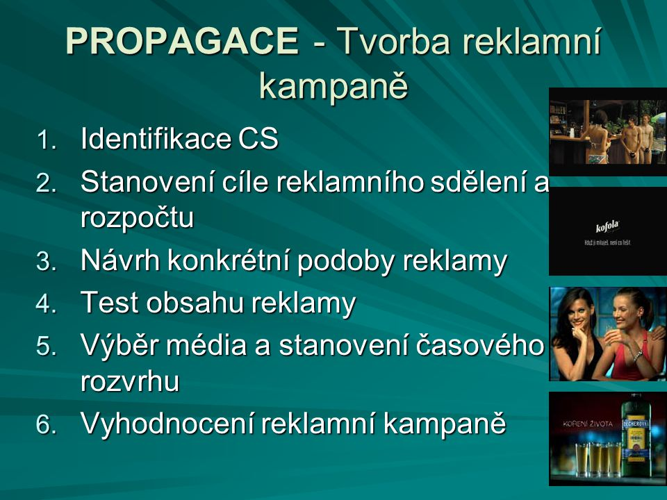 PROPAGACE - Tvorba reklamní kampaně