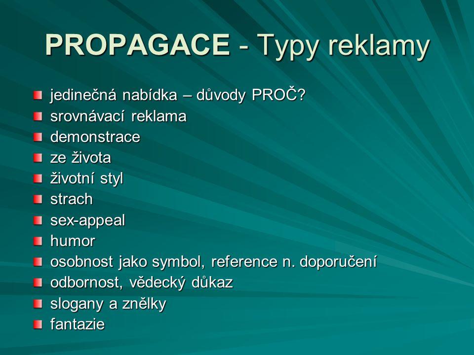 PROPAGACE - Typy reklamy