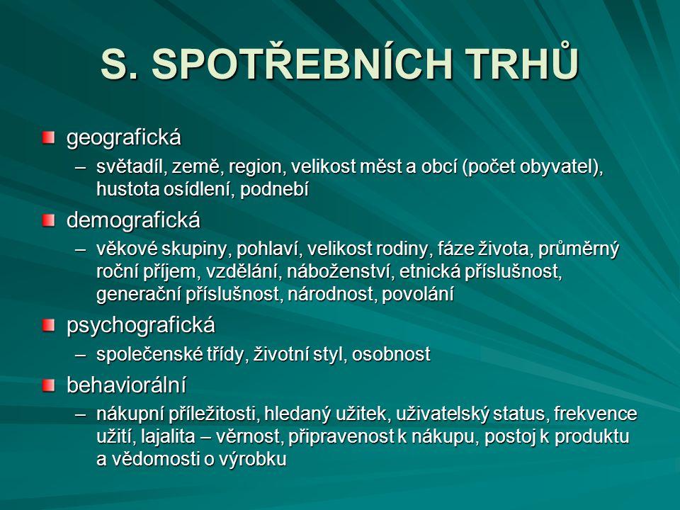 S. SPOTŘEBNÍCH TRHŮ geografická demografická psychografická