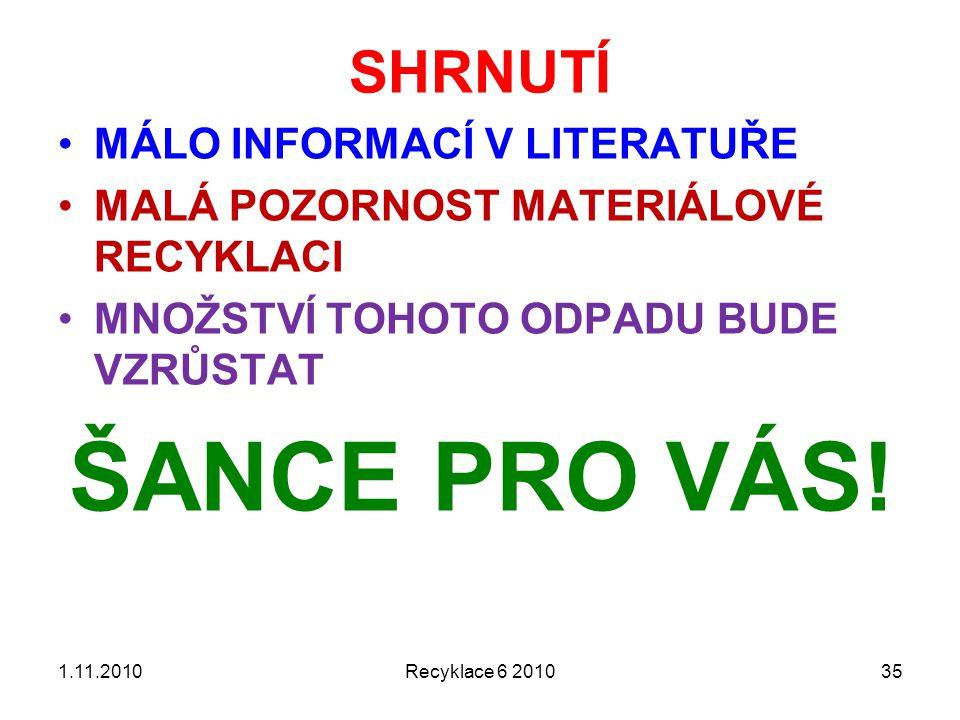 ŠANCE PRO VÁS! SHRNUTÍ MÁLO INFORMACÍ V LITERATUŘE