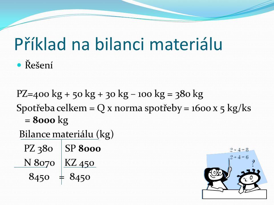 Příklad na bilanci materiálu