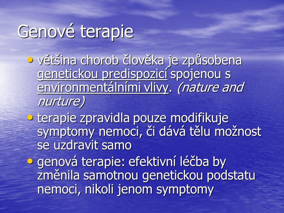 Genové terapie většina chorob člověka je způsobena genetickou predispozicí spojenou s environmentálními vlivy. (nature and nurture)