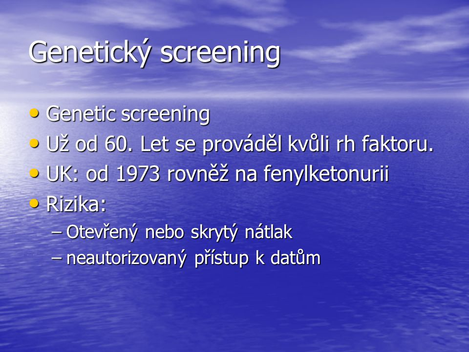 Genetický screening Genetic screening