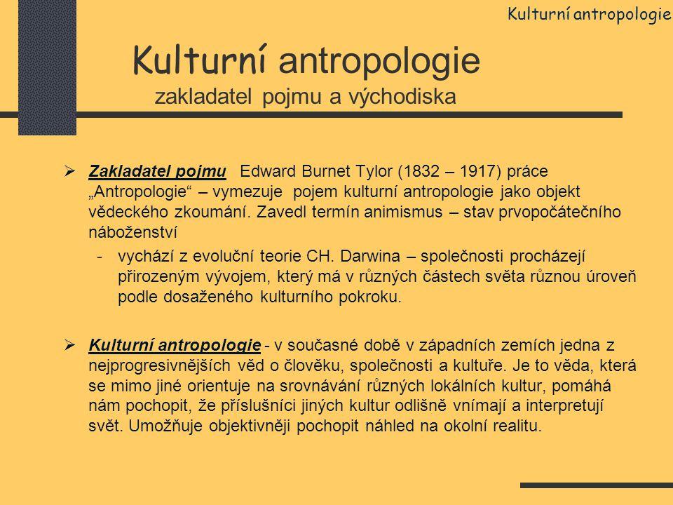 Kulturní antropologie zakladatel pojmu a východiska