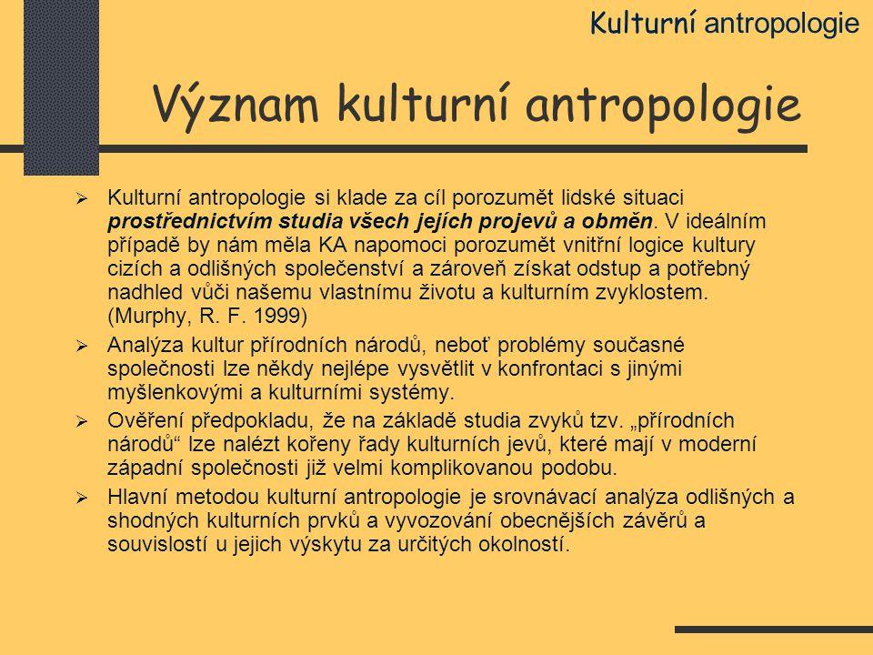 Význam kulturní antropologie