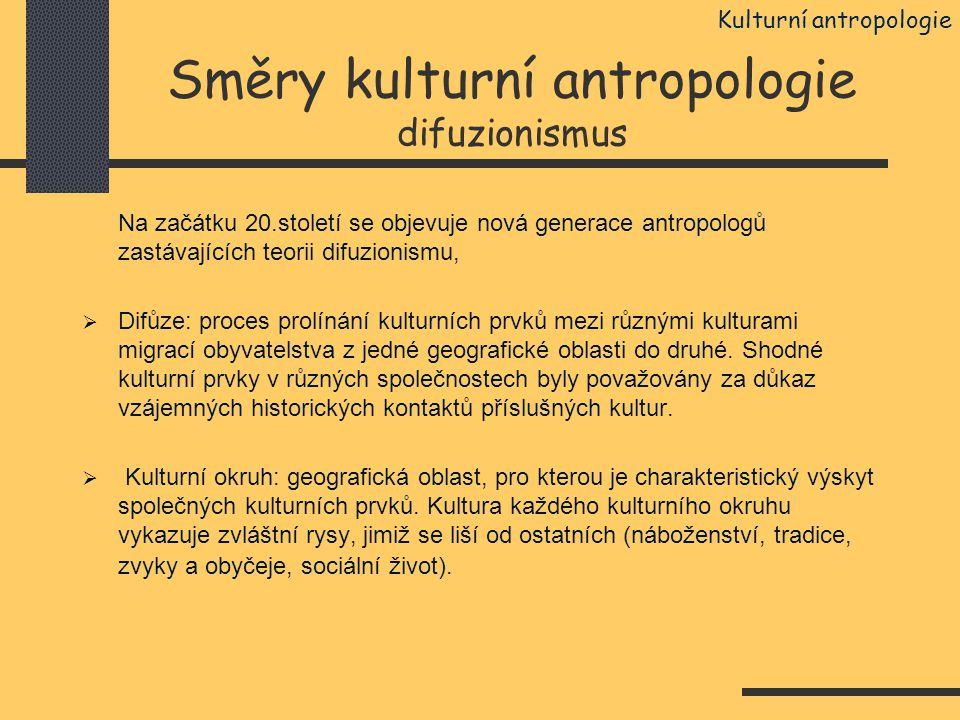Směry kulturní antropologie difuzionismus