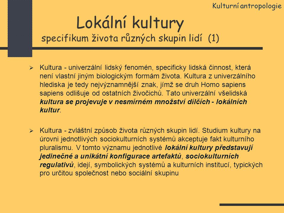 Lokální kultury specifikum života různých skupin lidí (1)