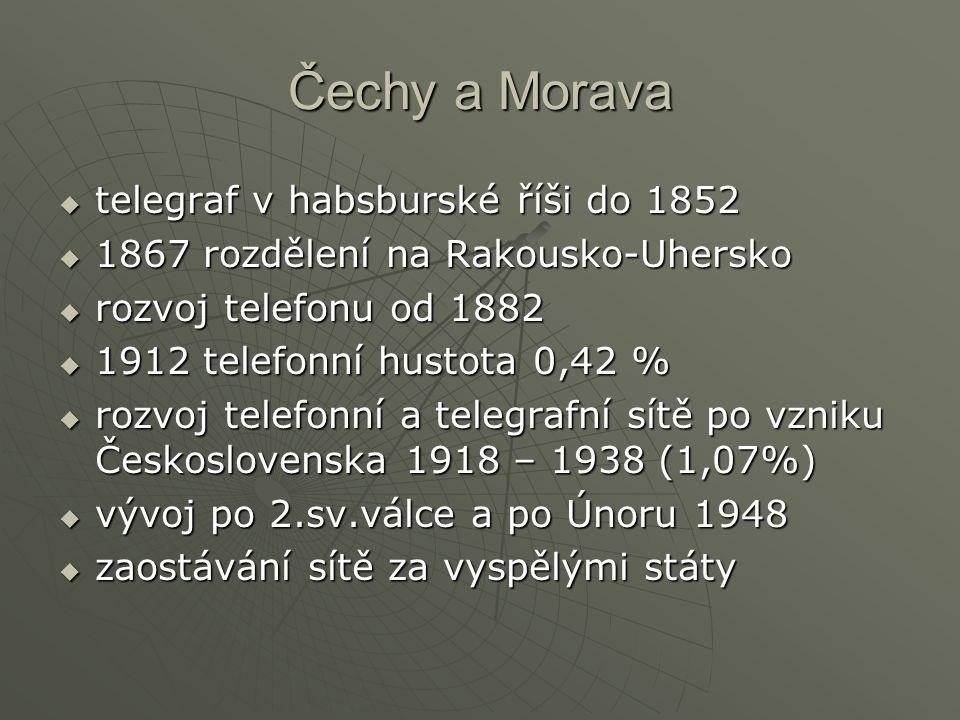 Čechy a Morava telegraf v habsburské říši do 1852