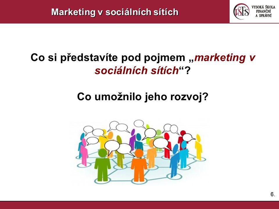 """Co si představíte pod pojmem """"marketing v sociálních sítích"""