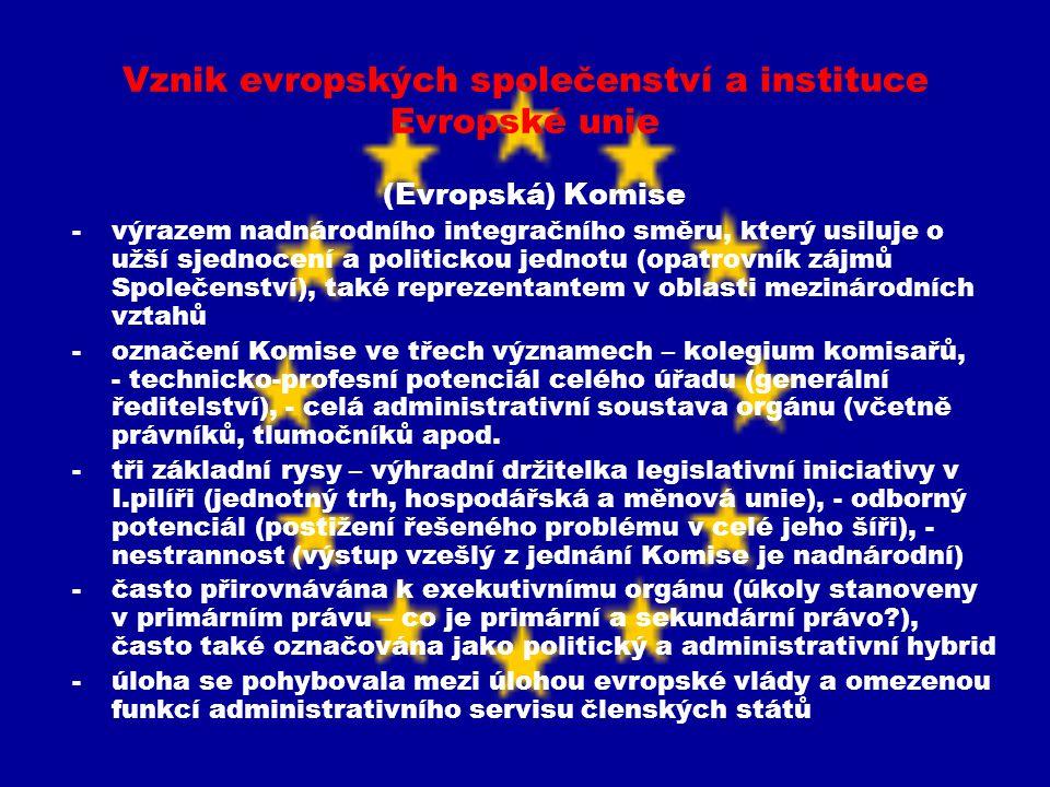 Vznik evropských společenství a instituce Evropské unie