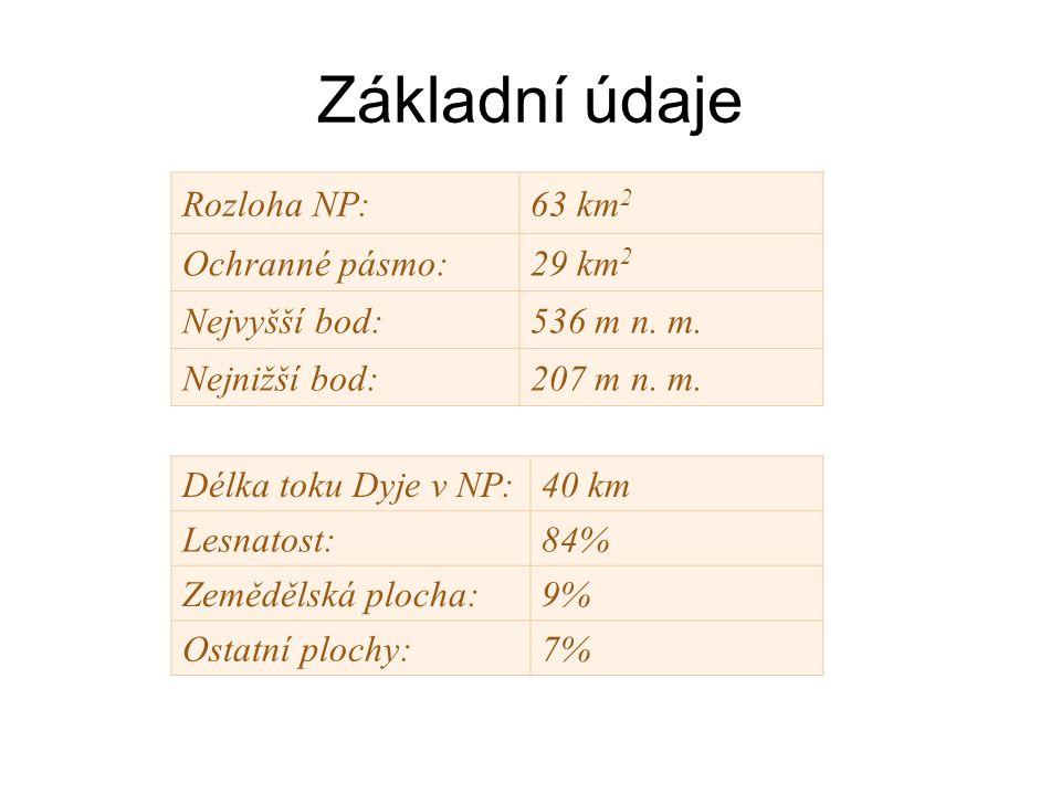 Základní údaje Rozloha NP: 63 km2 Ochranné pásmo: 29 km2 Nejvyšší bod: