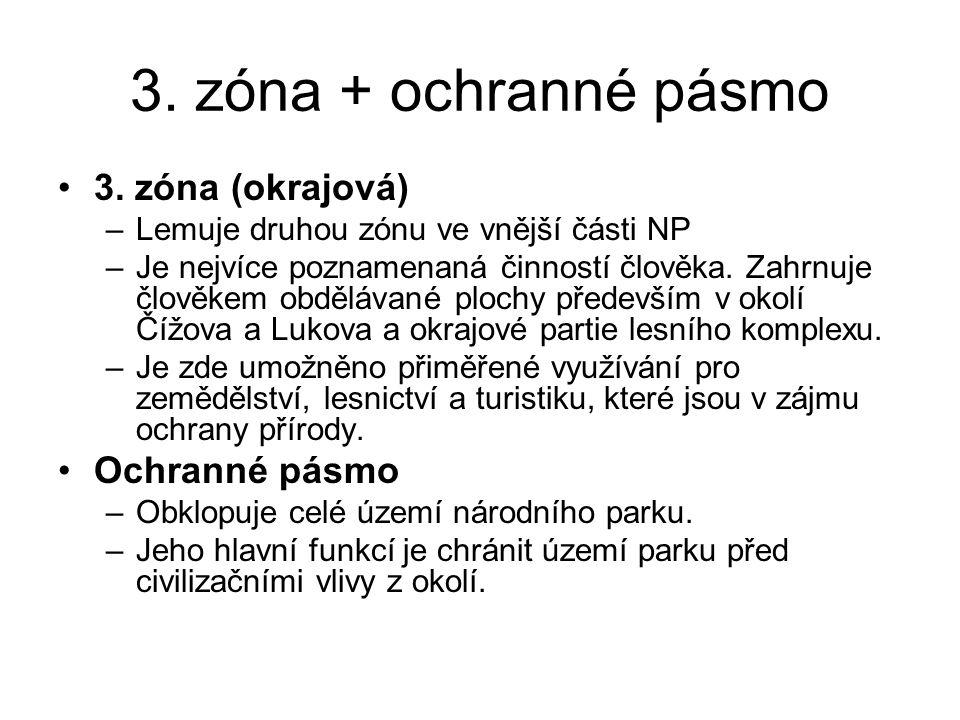 3. zóna + ochranné pásmo 3. zóna (okrajová) Ochranné pásmo