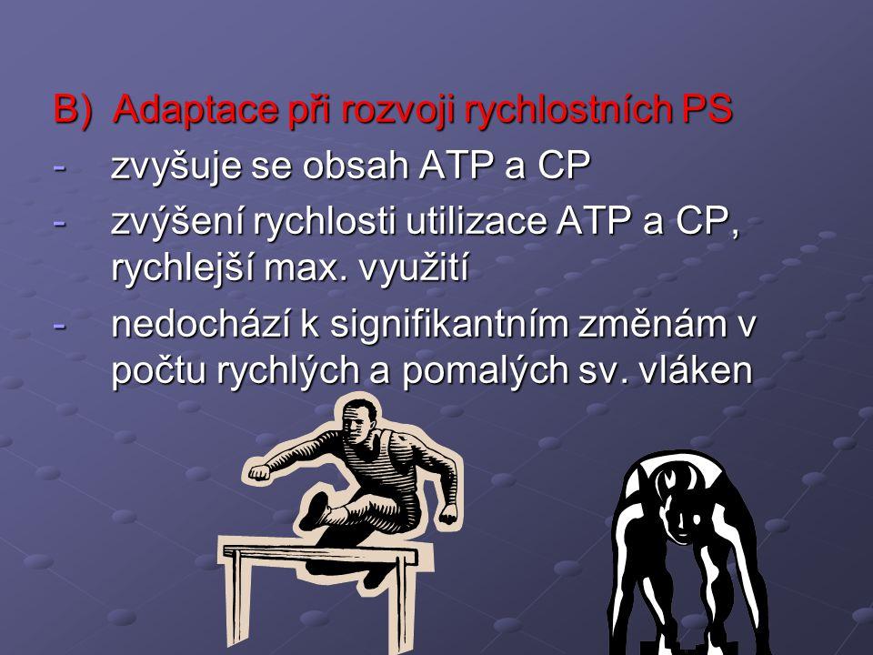 B) Adaptace při rozvoji rychlostních PS