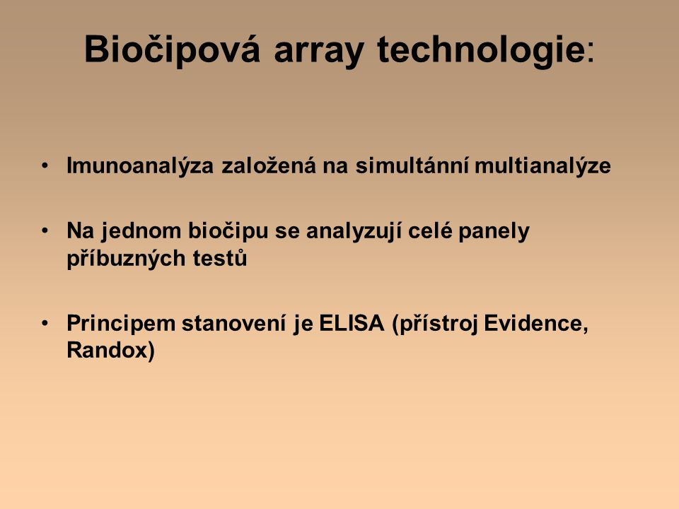 Biočipová array technologie: