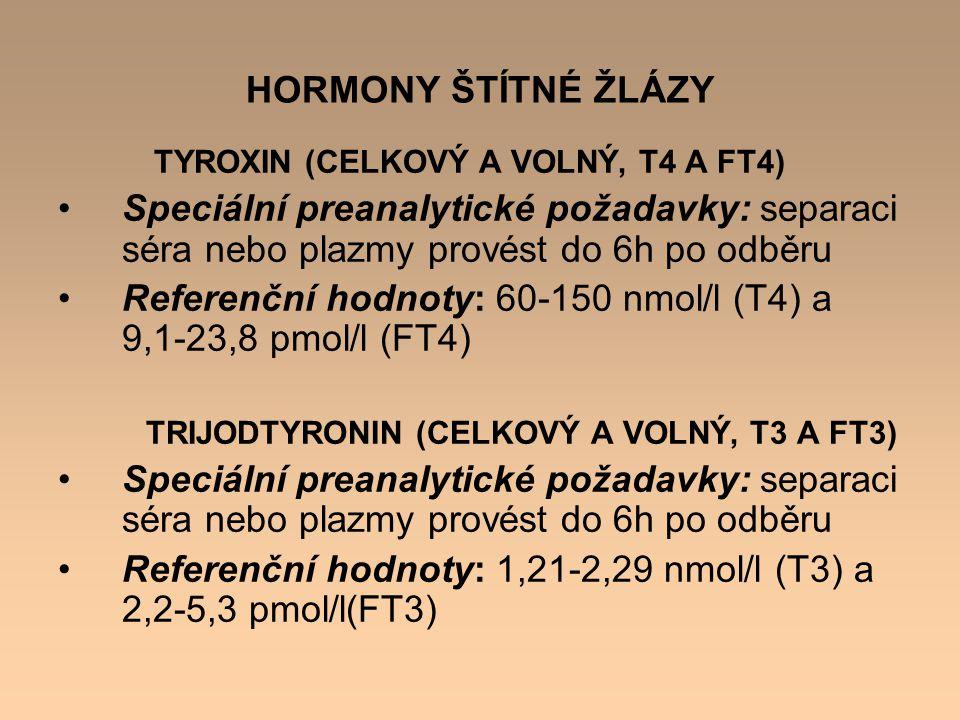 Referenční hodnoty: 60-150 nmol/l (T4) a 9,1-23,8 pmol/l (FT4)