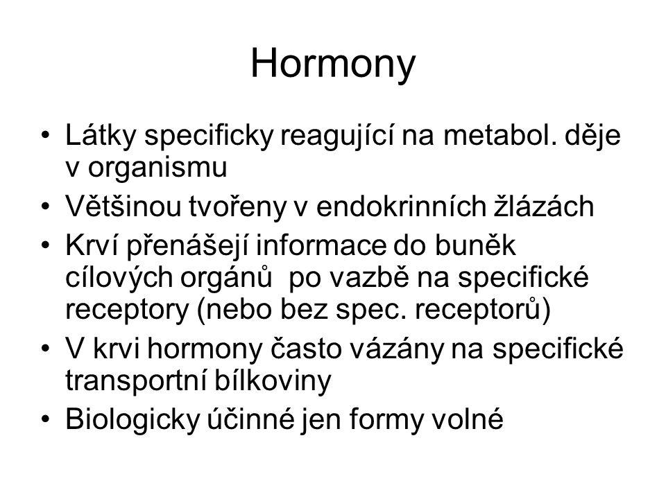 Hormony Látky specificky reagující na metabol. děje v organismu