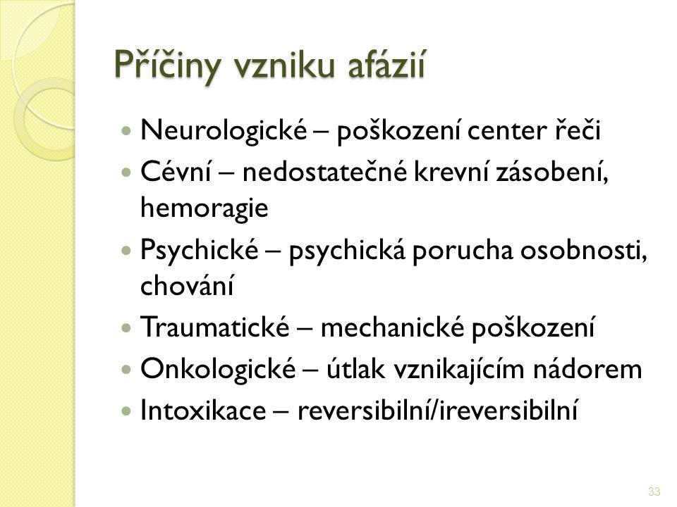 Příčiny vzniku afázií Neurologické – poškození center řeči