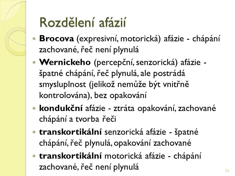 Rozdělení afázií Brocova (expresivní, motorická) afázie - chápání zachované, řeč není plynulá.