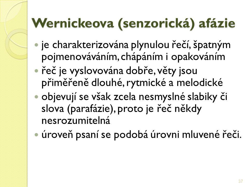 Wernickeova (senzorická) afázie