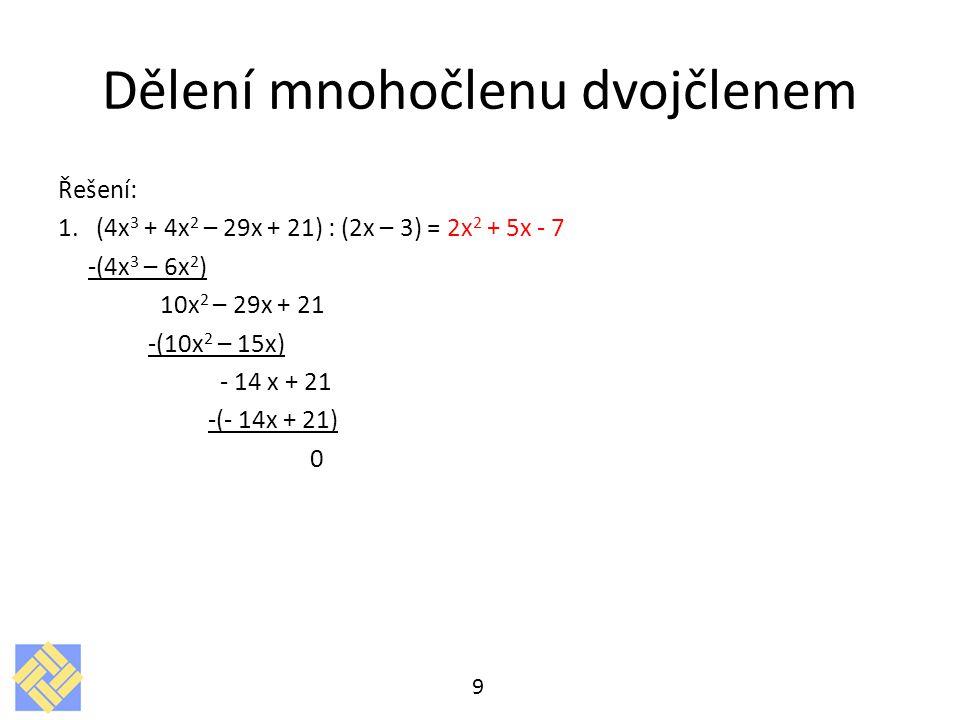 Dělení mnohočlenu dvojčlenem