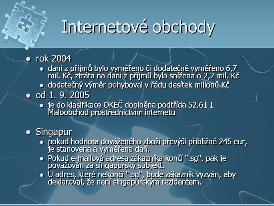 Internetové obchody rok 2004 od 1. 9. 2005 Singapur