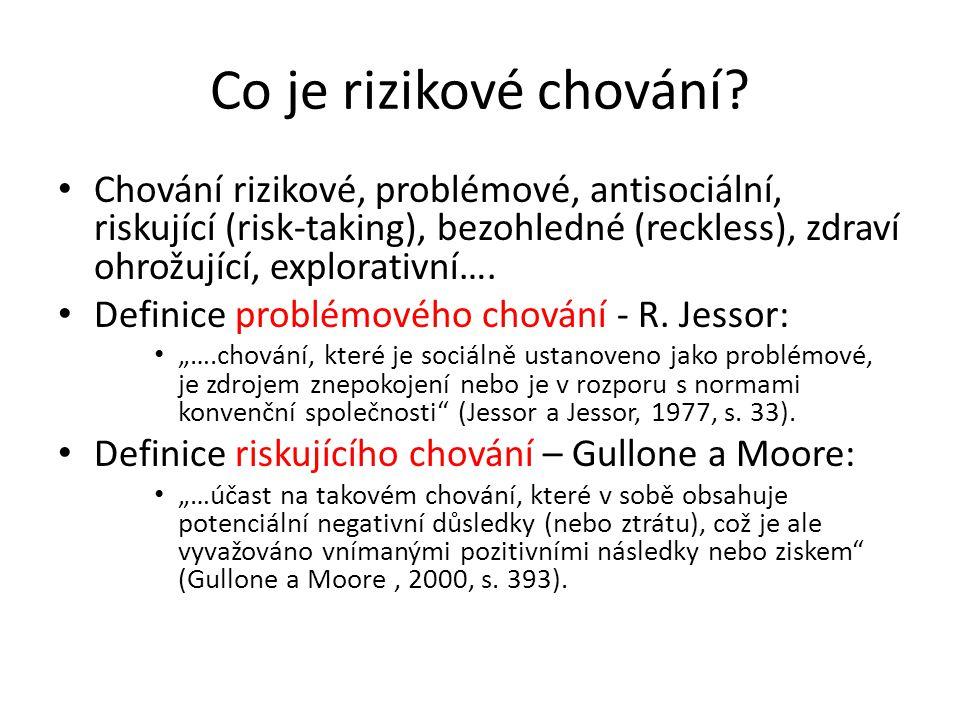 Co je rizikové chování Chování rizikové, problémové, antisociální, riskující (risk-taking), bezohledné (reckless), zdraví ohrožující, explorativní….