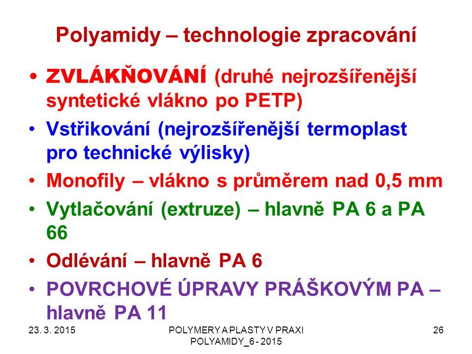 Polyamidy – technologie zpracování