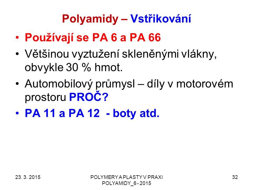 Polyamidy – Vstřikování