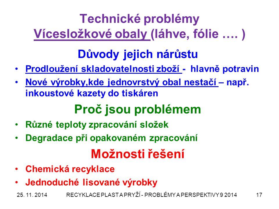 Technické problémy Vícesložkové obaly (láhve, fólie …. )