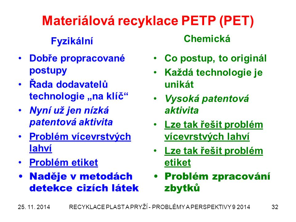 Materiálová recyklace PETP (PET)