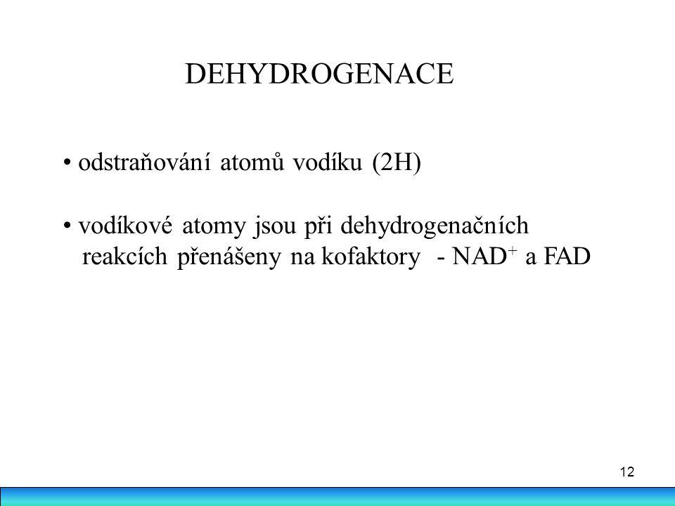 DEHYDROGENACE • odstraňování atomů vodíku (2H)