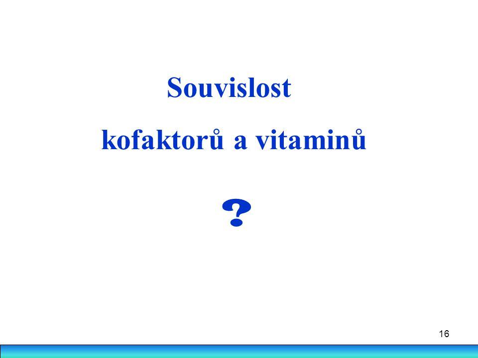 Souvislost kofaktorů a vitaminů
