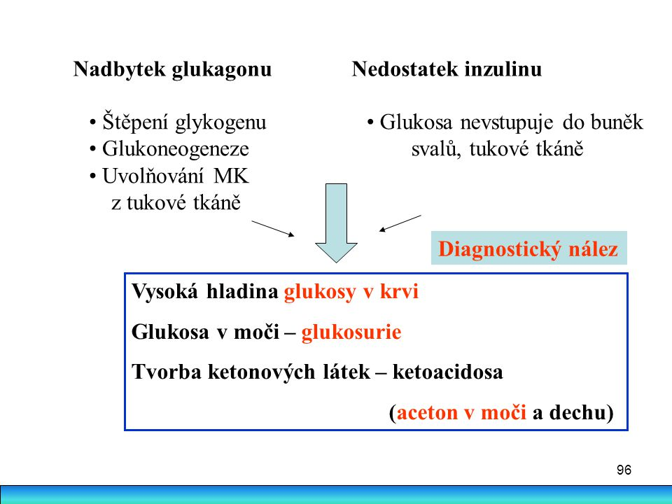 Nadbytek glukagonu Nedostatek inzulinu