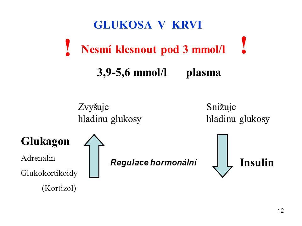 ! ! GLUKOSA V KRVI Nesmí klesnout pod 3 mmol/l 3,9-5,6 mmol/l plasma