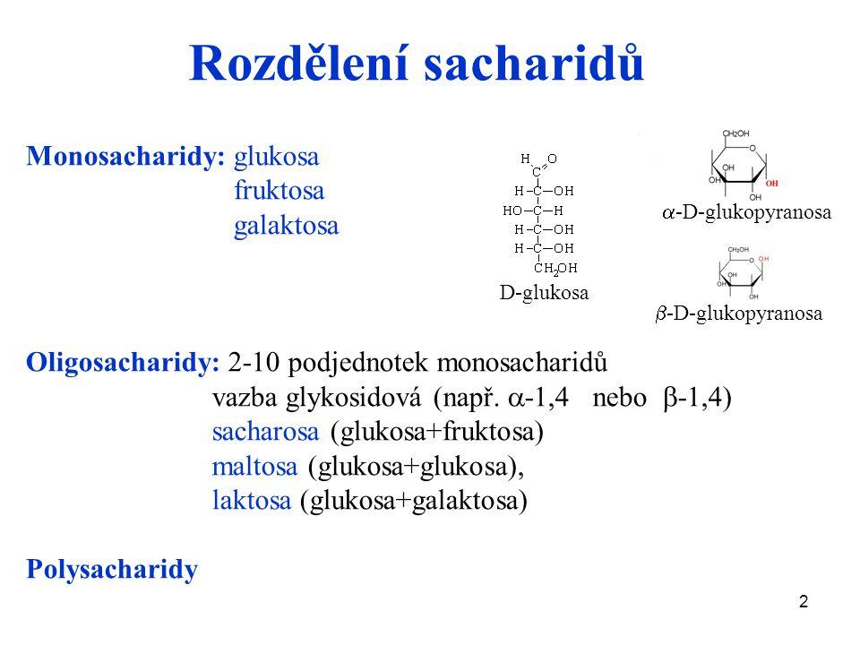 Rozdělení sacharidů Monosacharidy: glukosa fruktosa galaktosa