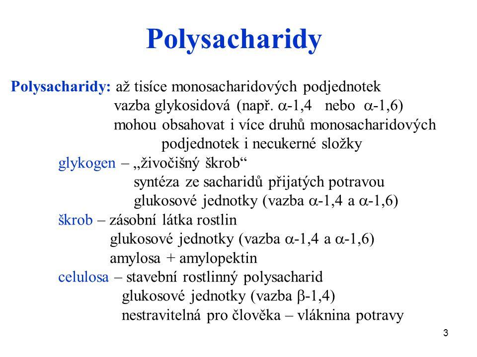 Polysacharidy Polysacharidy: až tisíce monosacharidových podjednotek