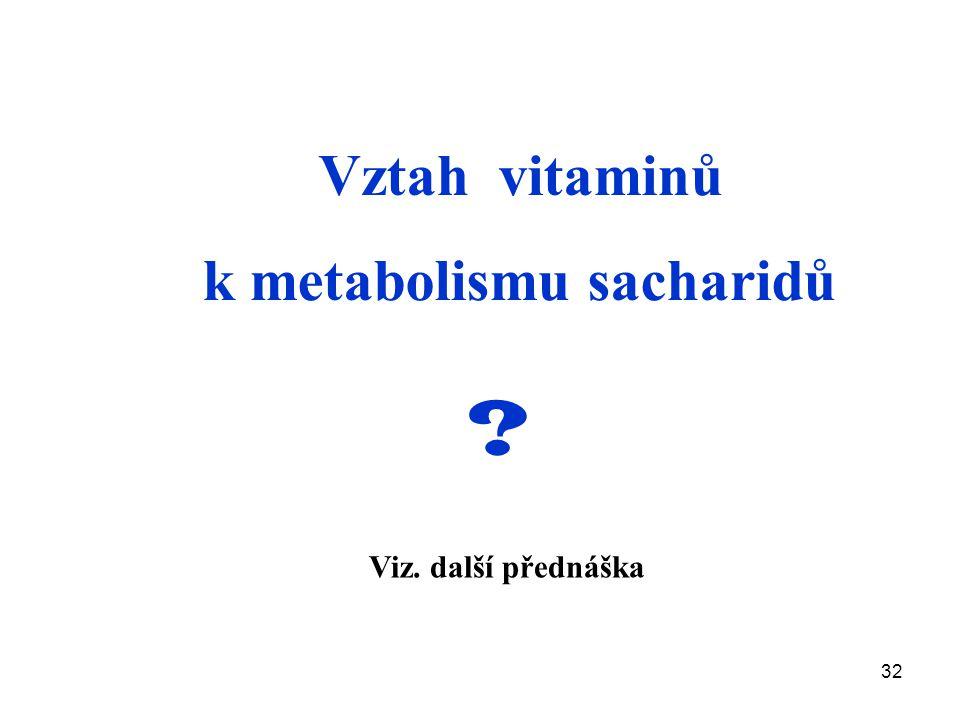 Vztah vitaminů k metabolismu sacharidů Viz. další přednáška
