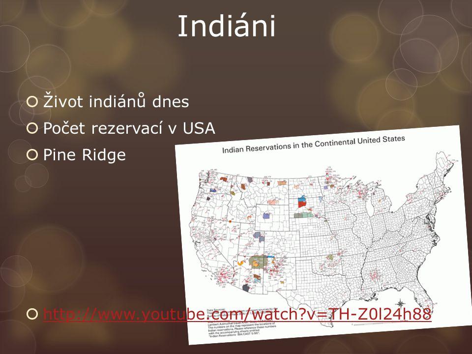 Indiáni Život indiánů dnes Počet rezervací v USA Pine Ridge