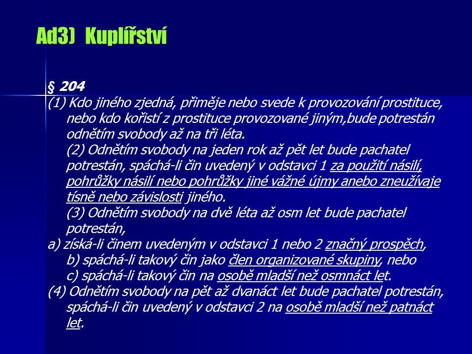 Ad3) Kuplířství § 204.