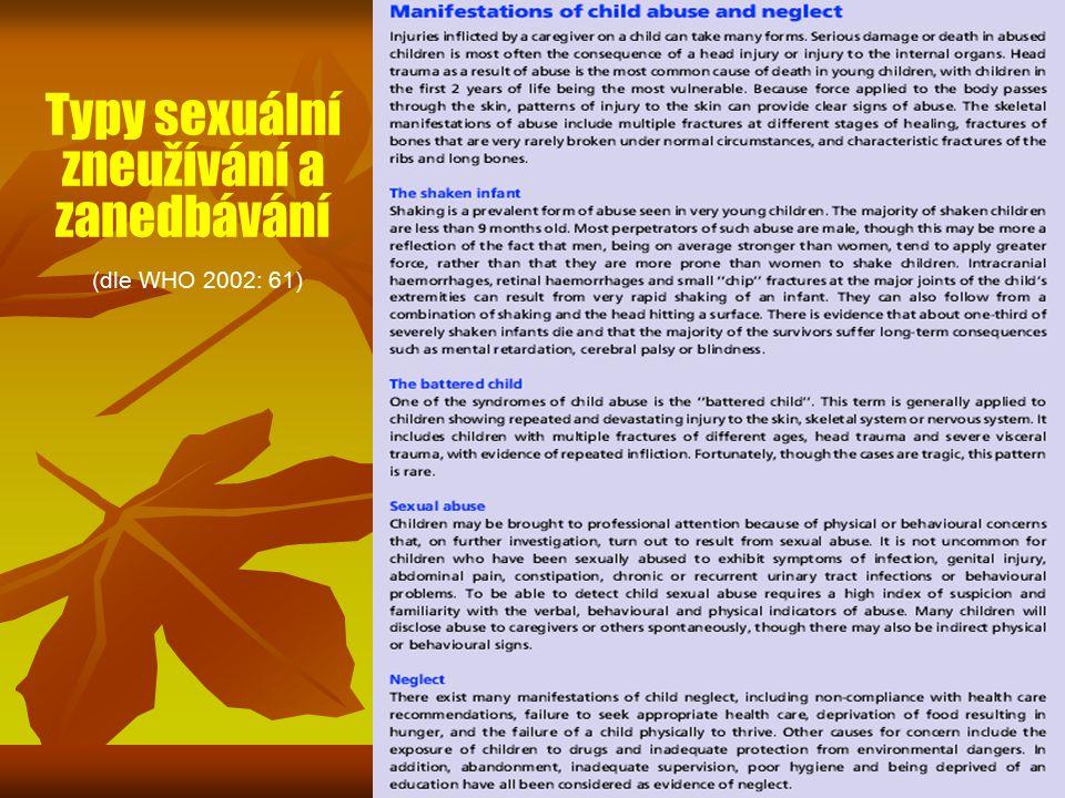 Typy sexuální zneužívání a zanedbávání (dle WHO 2002: 61)