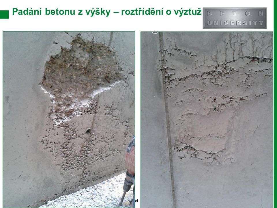 Padání betonu z výšky – roztřídění o výztuž