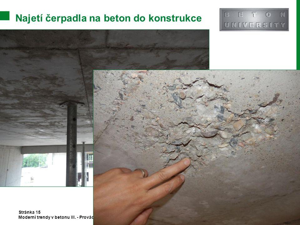 Najetí čerpadla na beton do konstrukce