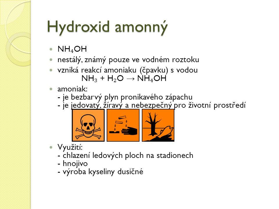 Hydroxid amonný NH₄OH nestálý, známý pouze ve vodném roztoku