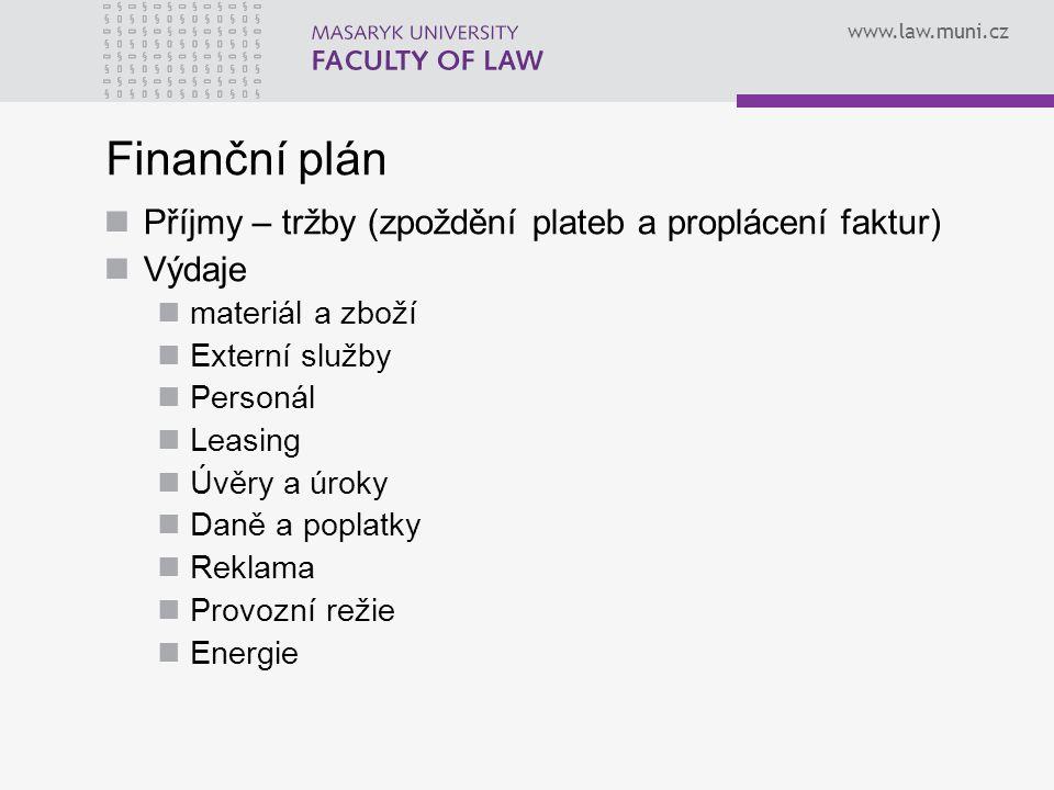 Finanční plán Příjmy – tržby (zpoždění plateb a proplácení faktur)