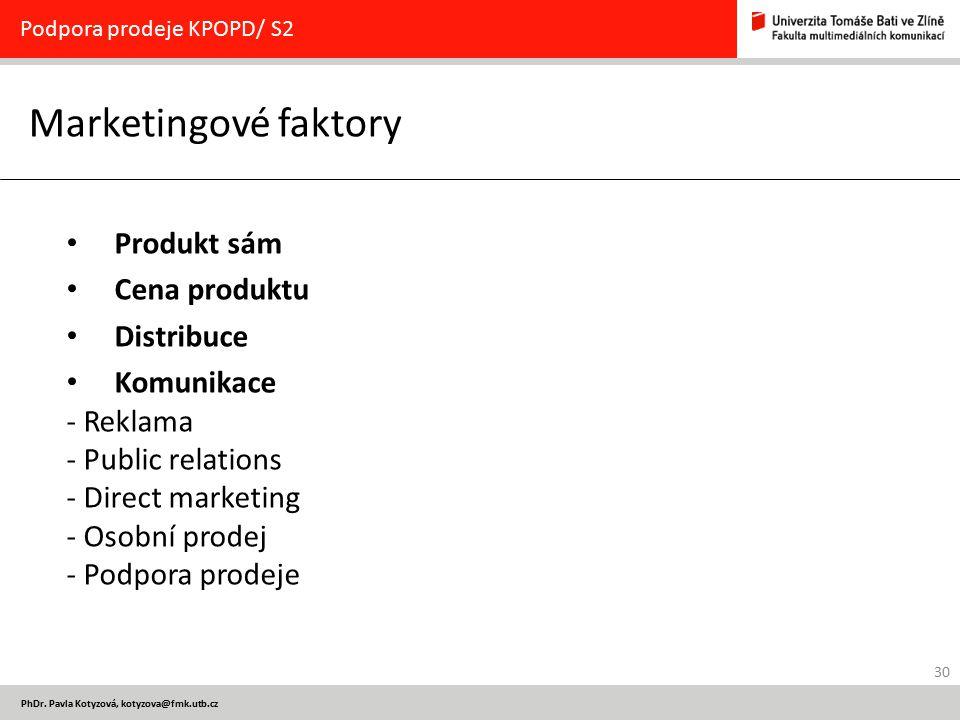 Marketingové faktory Produkt sám Cena produktu Distribuce Komunikace