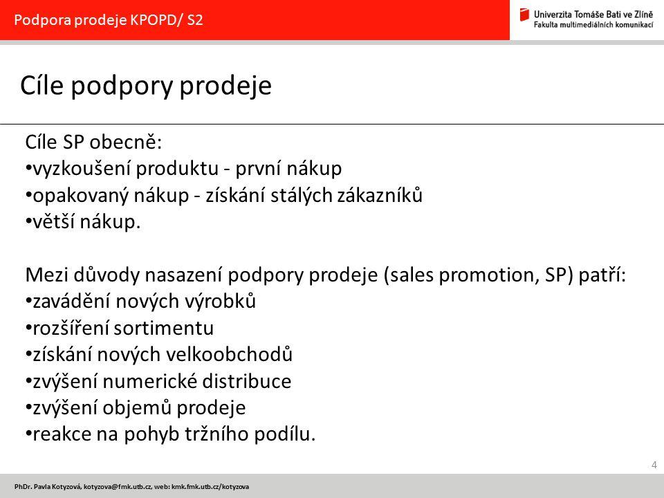 Cíle podpory prodeje Cíle SP obecně: vyzkoušení produktu - první nákup